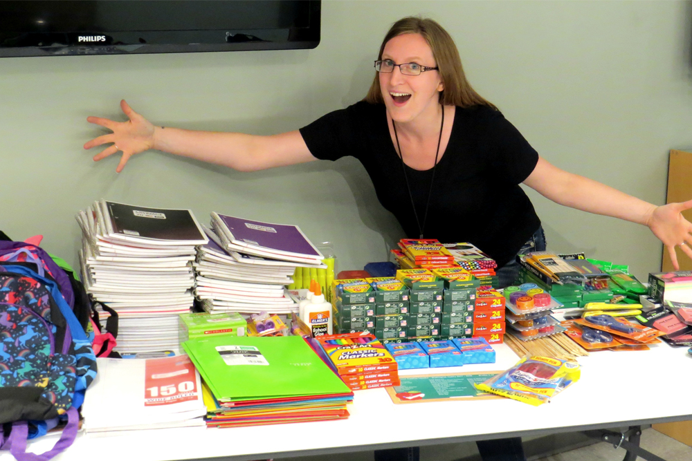 Collection of school supplies at Merkle RMG